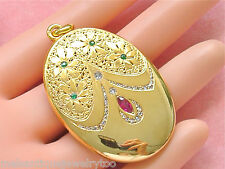 ANTIQUE ART NOUVEAU DIAMOND RUBY EMERALD LARGE OVAL LOCKET PENDANT 1910 STUNNING