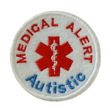 Iron on and Sew On Embroidered Patch Medical Alert AUTISTIC