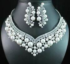 SEXY PEARL AUSTRIAN CRYSTAL NECKLACE EARRINGS SET BRIDAL WEDDING N12127 WHITE