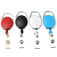 Retractable Pull Key Ring ID Card Badge Tag Belt Clip Chain Holder Recoil Reel