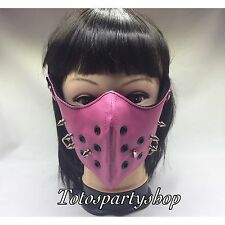 Motorcycle Pink Mask Half-Face Punk Silver-Metal Spike Women one Size