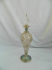 "1 Egyptian Glass Perfume Bottle Fancy Gold Accent Hand Blown Unique Gift 8"" #24"