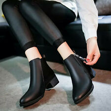 WOMEN SHOES VINTAGE FASHION ANKLE BOOTS LOW HEEL LEATHER ZIPPER SHOES USPS