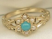 Victorian Style Turquoise & Cultured Pearl 9ct Yellow Gold  Dress Ring UK O1/2