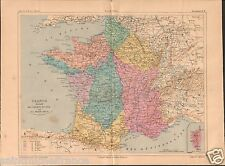 Map Carte Réseaux des Chemins de Fer France Atlas GRAVURE ANTIQUE OLD PRINT 1883