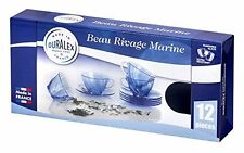 Duralex Beau Rivage MARINE Cups & Saucers GLASS (12pc Set)
