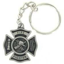 PEWTER FIREFIGHTER / FIRE FIGHTER / FIREMAN MALTESE CROSS KEY CHAIN KEYCHAIN