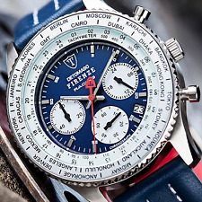 DETOMASO Firenze Racing men's Blue 42mm Chronograph Watch S-Steel 10 ATM New