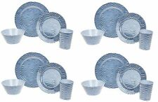 16PC Dinner Set Stripe Wave Plates Bowls Kitchen Service 4 Family Dining Set New