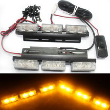 2x 6 LED Emergency Car auto truck Strobe Warning Beacon Flashing Light Amber