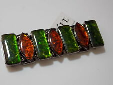 Japanned Black Stretch Bracelet Emerald Green Brown Tinsel Opalescent #93