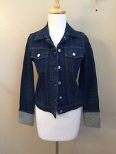 HELMUT LANG Dark Denim Classic Turn Up Fitted Jean Jacket Sz 36