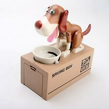 Cute Eating Hungry Dog Coin Bank Money Saving Box Choken Puppy Piggy Bank Gift