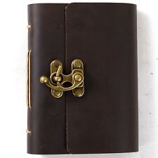 Ancicraft Leather Journal with Vintage Lock Handmade Blank Craft Paper A6 Gift