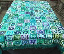 Huge Crochet Granny Squares afghan blanket fringed double /king 104 x 104 inches
