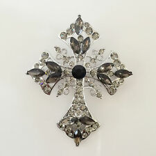 New Chocolate Brown Holly Cross Brooch Pin Necklace Charm Pendant Gift BR1126