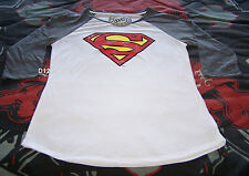 Superman Logo Ladies White Grey Printed 3/4 Sleeve T Shirt Size L New