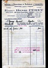 """LIMOGES (87) RADIATEURS & RESERVOIRS pour AUTOMOBILES """"Henri PERET"""" en 1956"""