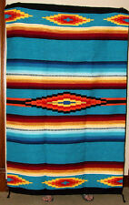 Saltillo Mexican Throw or Area Rug Tapestry Southwestern Lg 4x6' TURQUOISE BLUE