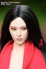 "Cabeza esculpida de Elsa wondery Hembra 1:6 cabeza con pelo negro para 12"" figura"