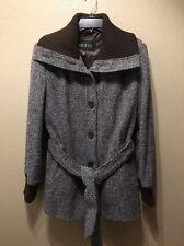 Guess Women's Sz XL Wool Blend Brown Black Trench Peacoat Coat Jacket