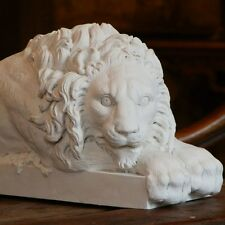Canova Lion Crouching Large Animal Figure Sculpture in Gypsum Plaster NEW