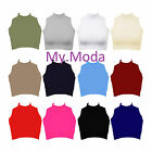 NEW WOMENS CROP SLEEVELESS SEXY TURTLE POLO NECK VEST CAMOUFLAGE WOMENS TOP 8-14
