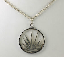 Vintage Carved 1943 Walking Liberty Coin Pendant Sterling Silver Chain Necklace