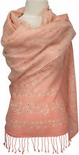 Pashmina Schal, Rosa bestickt, scarf stole embroidered, embroidery light pink