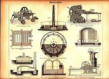 1882 THONWAREN FABRICATION Brick Machine Antique Engraving Lithograph Print