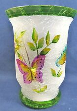 Sm Pillar Candle Holder Hand Painted Frosted Crackle Glass Decor w/ Butterflies
