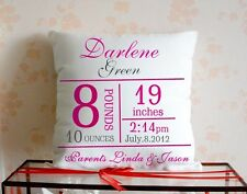Custom pink new born baby Pillow case Personalized Birth Announcement Gift 18*18