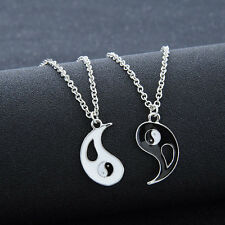 1 Set 2 PCS Best Friends Ying Yang Taiji Bagua Charm Pendant Chain Necklaces