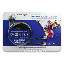 Wirelogic HDMI Dual Black Cable High Performance for a Better HDTV-6ft 1.8m New