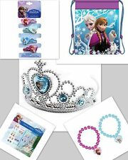 NEW DISNEY FROZEN CROWN TIARA STICKER EARRINGS 2 BRACELETS HAIR PONIES BACKPACK