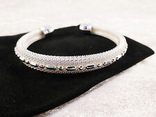 Silver Plated Mesh and Silver Patterned Cuff / Bangle / Bracelet + Free Gift Bag