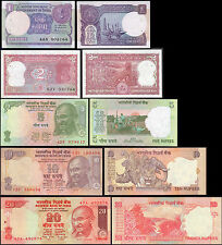 India Paper Money 1 - 20 Rupees Mahatma Gandhi Set of 5 Banknotes Tiger