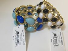 Banana Republic BLue Green / White Black Cabochon Stretch Bracelet NWT SET 2 PCS