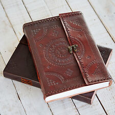 Indra Fair Trade Handmade A4 Stitched Embossed Leather Journal Scrapbook