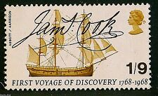 Captain Cook`s Endeavour and signature illustrated on 1968 Stamp - U/M