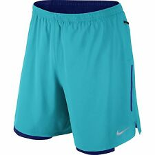 "NIKE 7"" PHENOM 2 IN 1 DRI-FIT RUNNING SHORTS OMEGA BLUE 683279-418 MENS SZ LARGE"