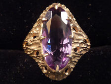 STYLISH BARK EFFECT AMETHYST SET 9ct GOLD RING. UK L  US 6