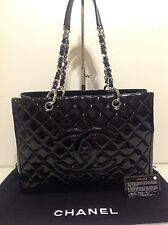 Authentic Chanel GST Black Patent Shoulder Bag. Ex Cond. Auth. Card & Dustbag.