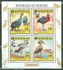 BURUNDI 2014  STORK CRANE  ETC BIRDS  OF BURUNDI   SHEET OF FOUR  MINT NH