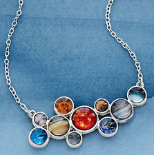 "SOLAR SYSTEM Bubble Bib NECKLACE by Yugen 18"" Silver Chain Planets Sun Celestial"