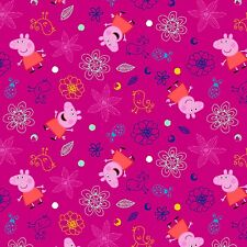 """Nick Jr. Peppa Pig Plays In Flowers 100% cotton 44"""" wide fabric by the yard"""