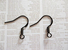 Black Fish Hook French Earwire 16mm Earring Findings with Coil & Loop - Qty 80