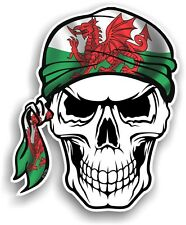 Skull With HEAD Bandana & Welsh Dragon Wales CYMRU Flag vinyl car sticker decal