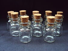 10 Mini Glass Bottles/Jars/Vials With Cork Stopper Size 22mm x 15mm.  (B)