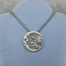 Sterling Silver Round Celestial Moon and Star Sun Meteor Pendant, S. Steel Chain